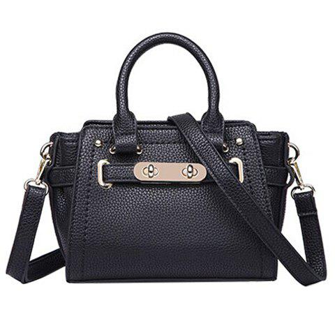 Chic Metal and Solid Color Design Women's Tote Bag - BLACK