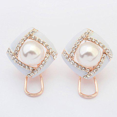 Pair of Chic Style Faux Pearl Rhinestone Earrings Jewelry For Women