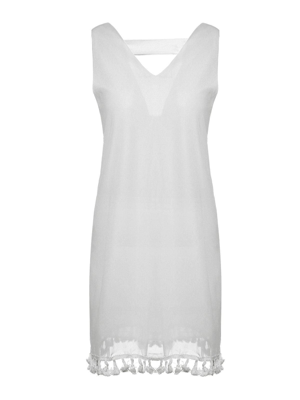 Sexy Women's V-Neck Sleeveless Fringed Cut Out Chiffon Dress - WHITE XL