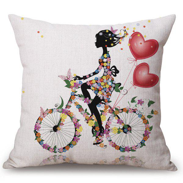 Chic Cycling Floral Girl Pattern Square Shape Flax Pillowcase (Without Pillow Inner)