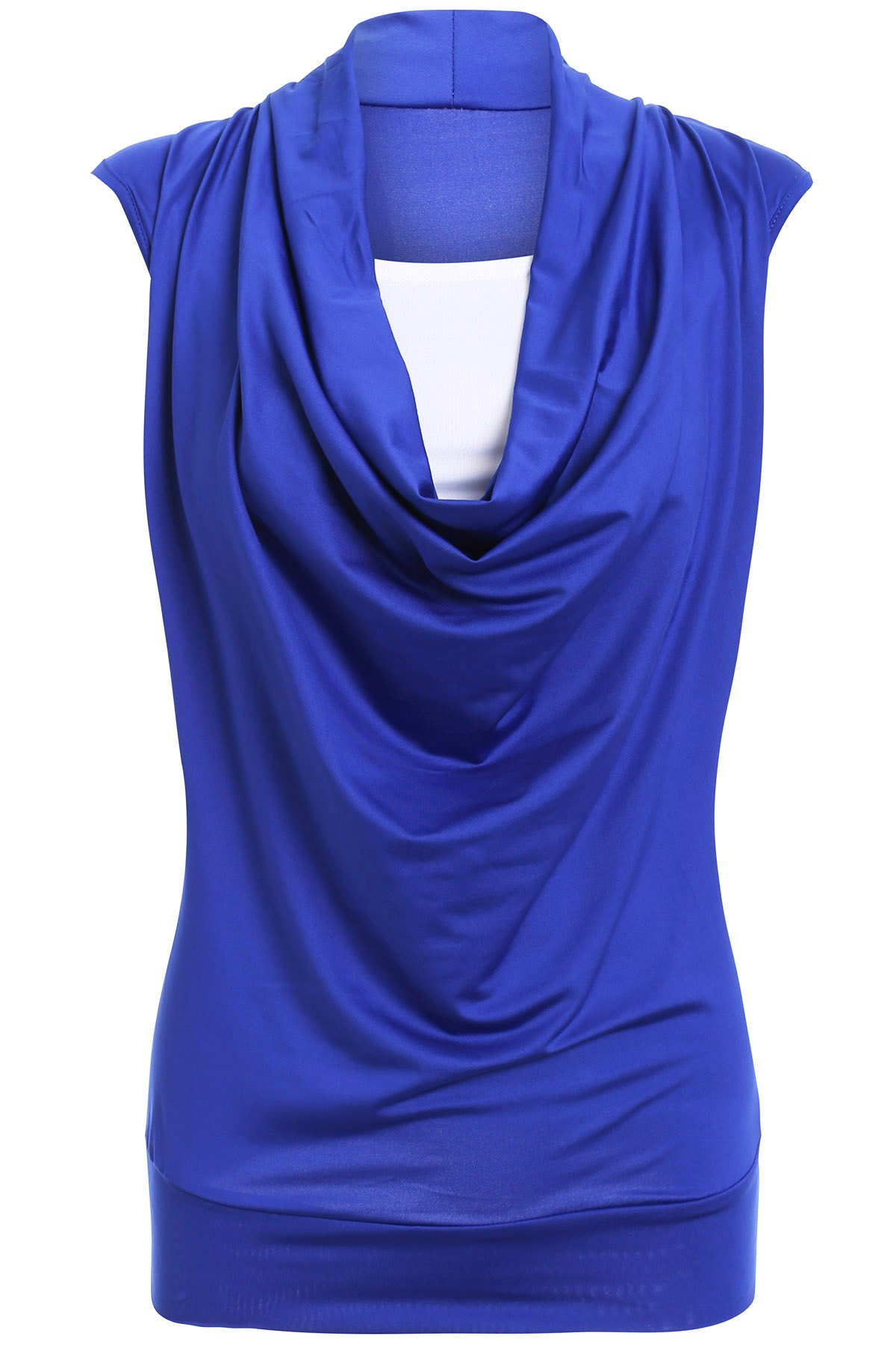 Stylish Women's Short Sleeve Ruffled Spliced Design T-Shirt - BLUE L