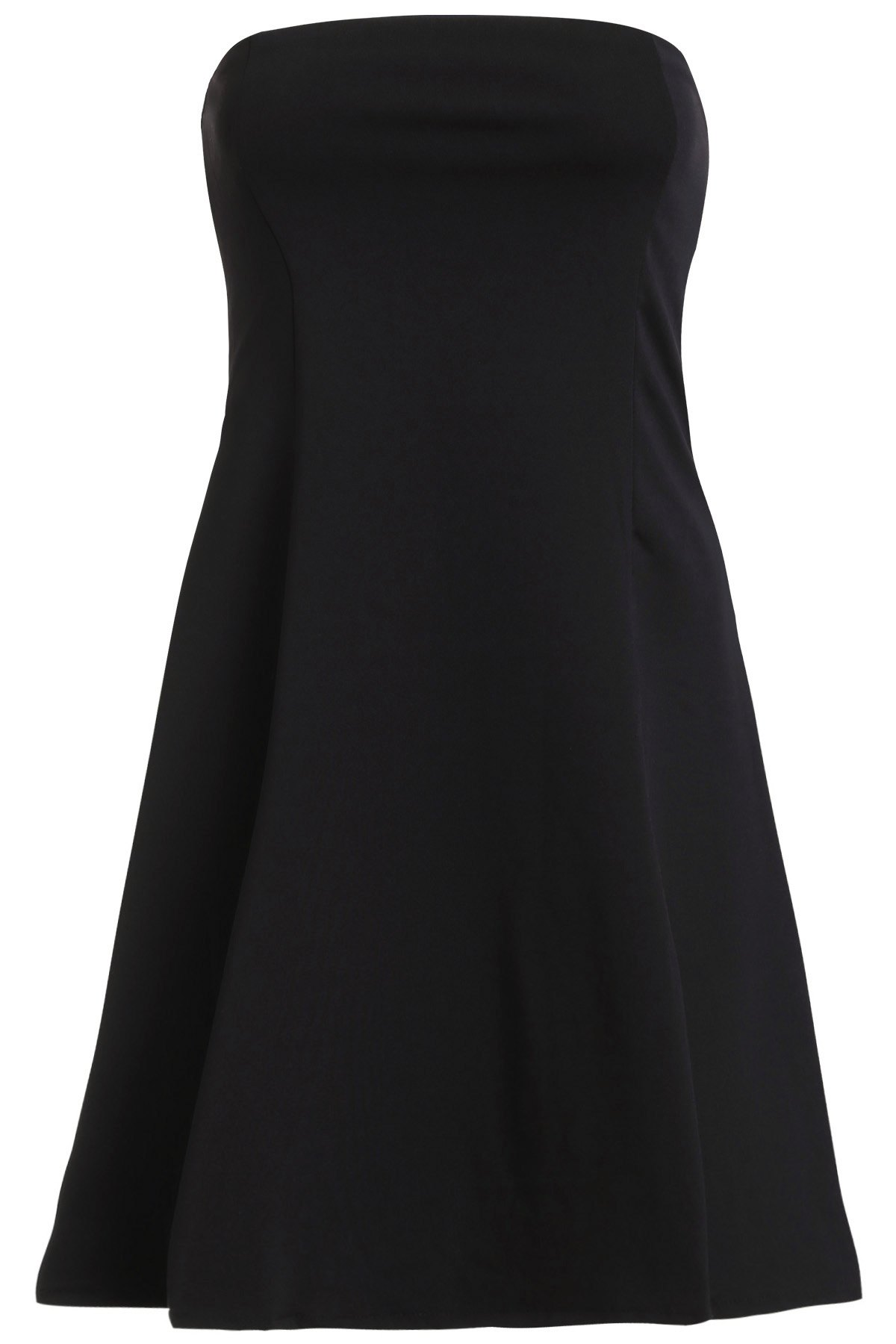 Alluring Women's Strapless A-Line Club Dress - BLACK S