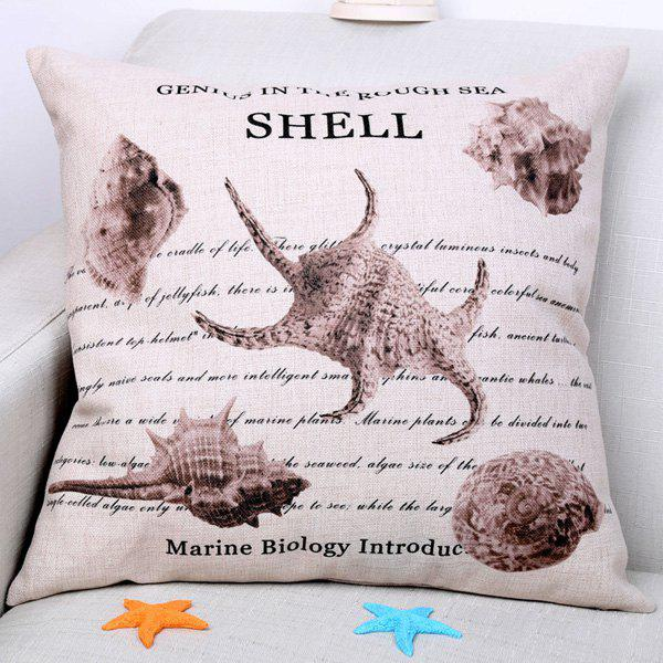 Chic Marine Shell Pattern Square Shape Flax Pillowcase (Without Pillow Inner) - COLORMIX