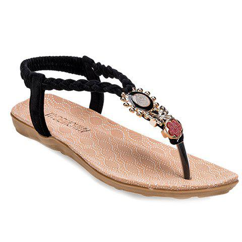 Ladylike Metal and Weaving Design Women's Sandals