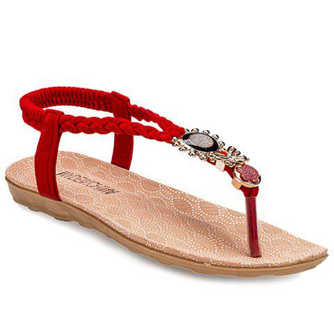 Ladylike Metal and Weaving Design Women's Sandals - RED 38