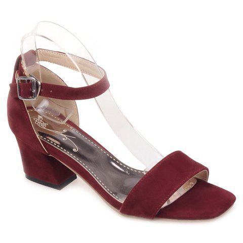 Vintage Square Toe and Suede Design Women's Sandals