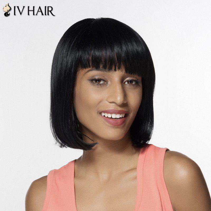 Women's Fashion Human Hair Full Bang Bobo Style Wig - JET BLACK