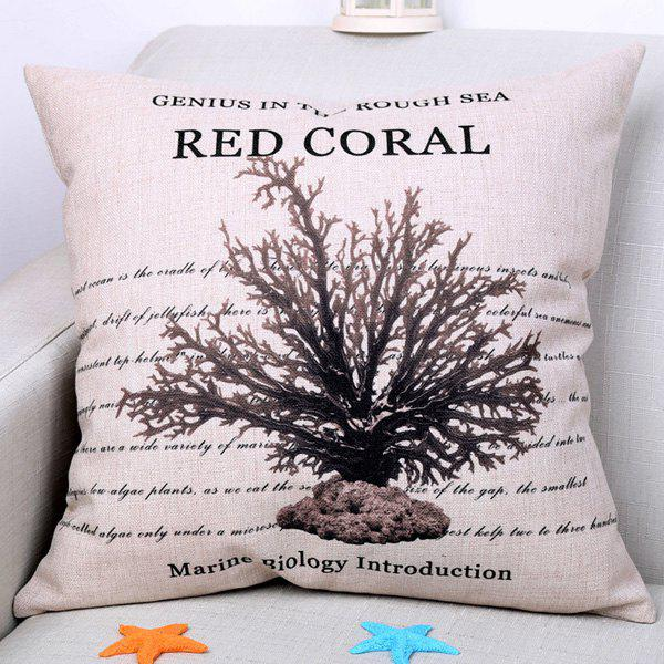 Chic Marine Red Coral Pattern Square Shape Flax Pillowcase (Without Pillow Inner) - COLORMIX