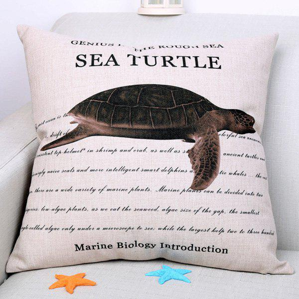 Chic Sea Turtle Pattern Square Shape Flax Pillowcase (Without Pillow Inner)