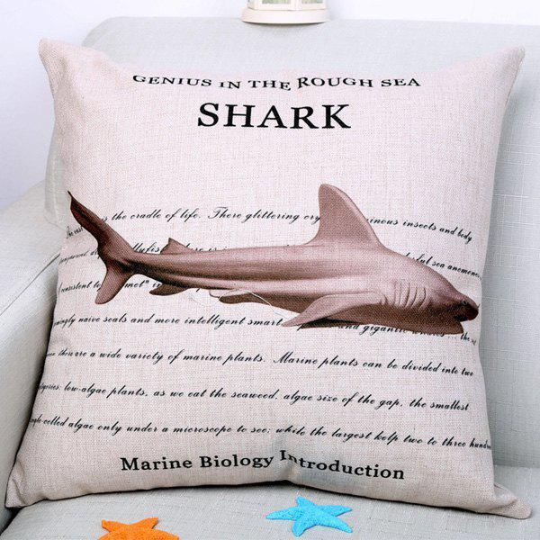 Chic Marine Animal Shark Pattern Square Shape Flax Pillowcase (Without Pillow Inner) - COLORMIX