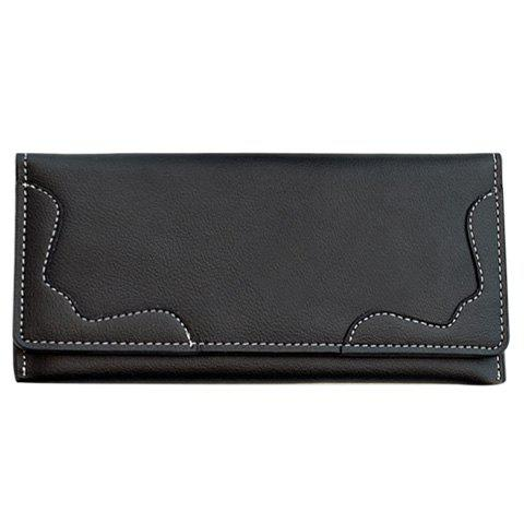 Concise Solid Color and Stitching Design Women's Clutch Wallet