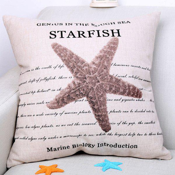 Chic Marine Starfish Pattern Square Shape Flax Pillowcase (Without Pillow Inner)