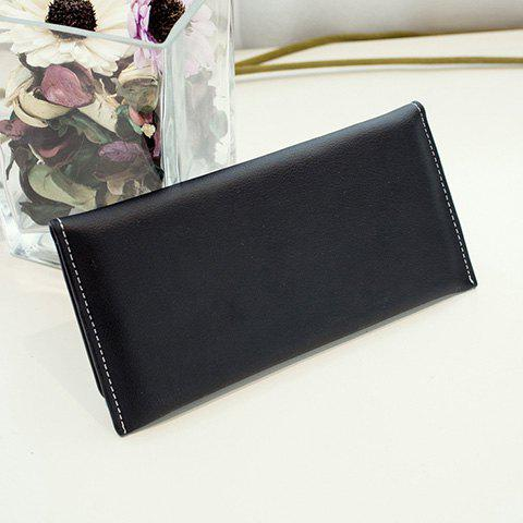 Concise Solid Color and Stitching Design Women's Clutch Wallet - BLACK