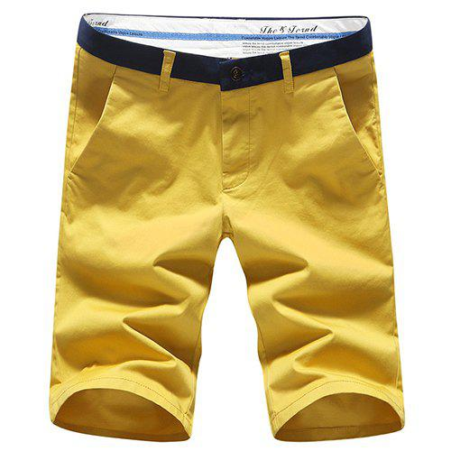 Modish Simple Color Block Straight Leg Zip Fly Men's Shorts - YELLOW 40