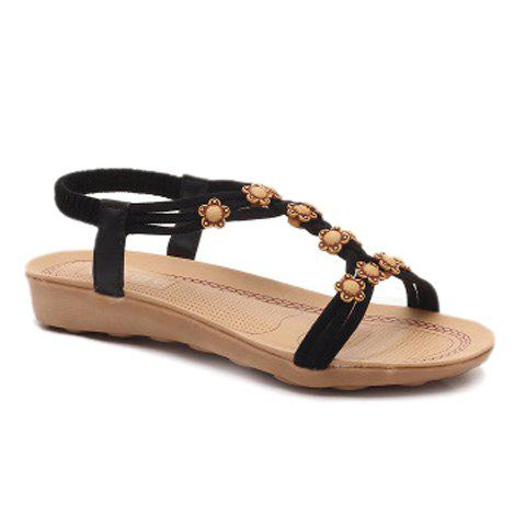 Leisure Flowers and Elastic Band Design Women's Sandals - BLACK 40