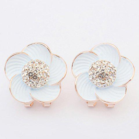 Rhinestoned Flower Jewelry Earrings - WHITE