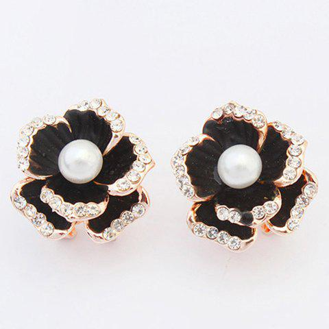 Pair of Floral Faux Pearl Stud Earrings - BLACK
