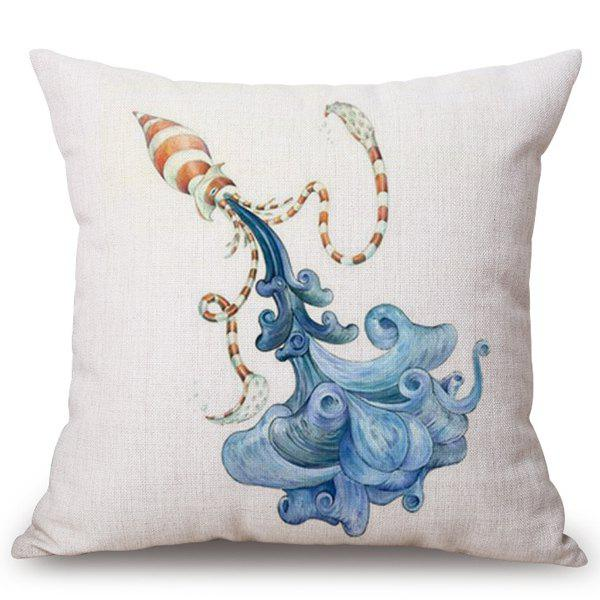 Chic striped sleeve fish pattern square shape flax for Fish shaped pillow