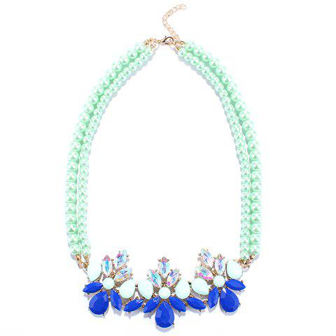 Water Drop Multilayered Beads Necklace - GREEN