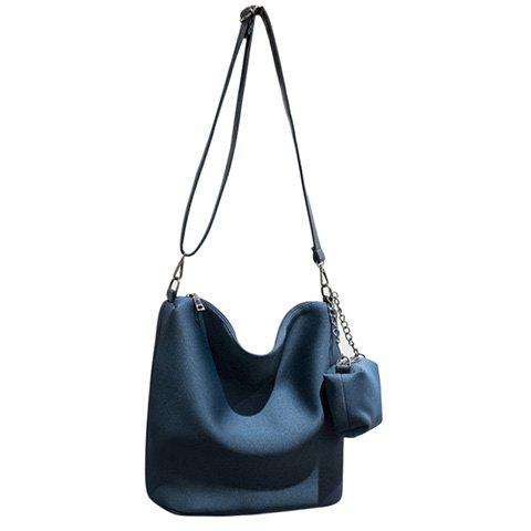 Simple Nylon and Solid Color Design Women's Crossbody Bag - BLUE