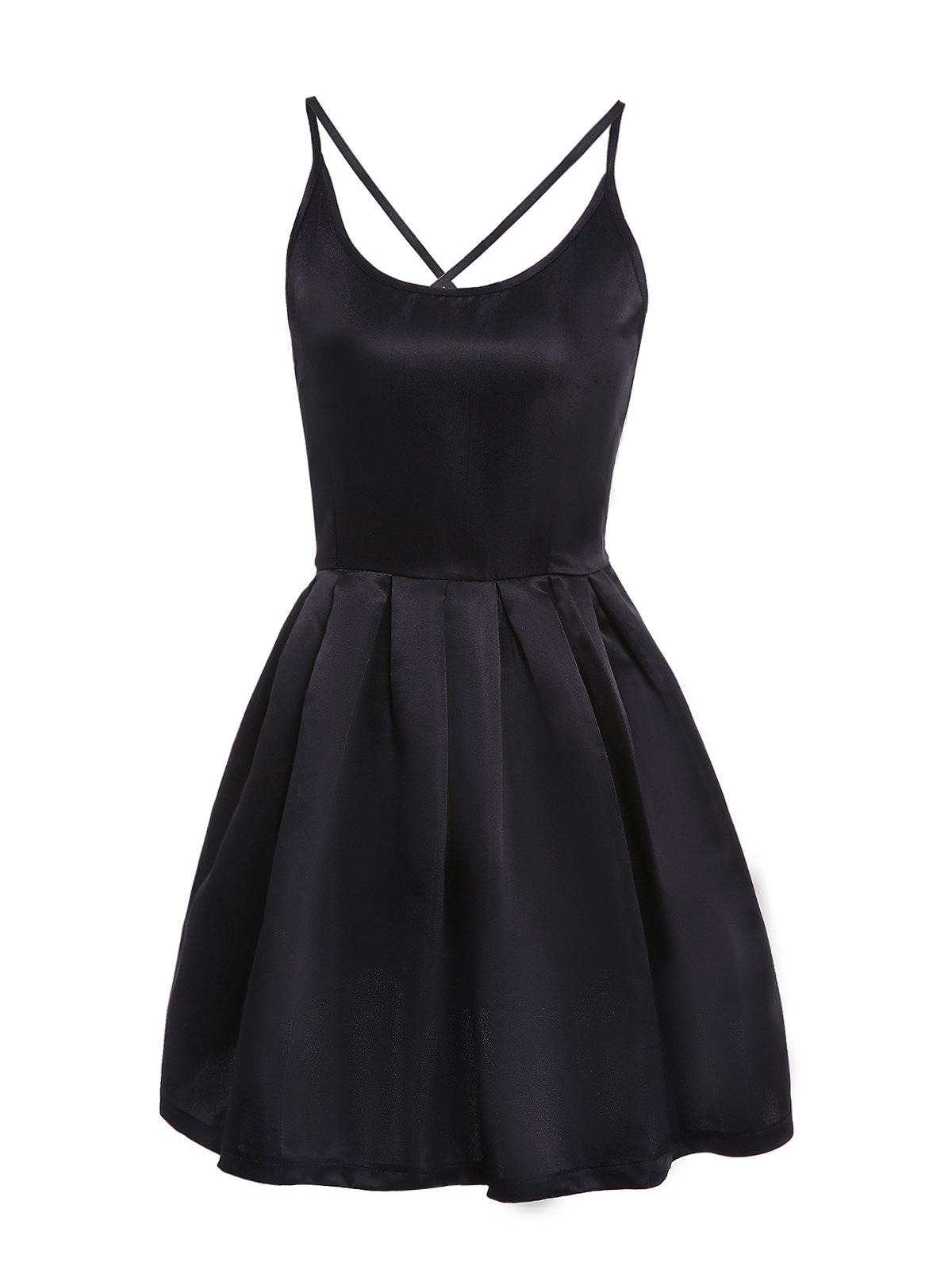 Sexy Spaghetti Strap Sleeveless Solid Color Cross-Back Low-Cut Women's Dress - BLACK S