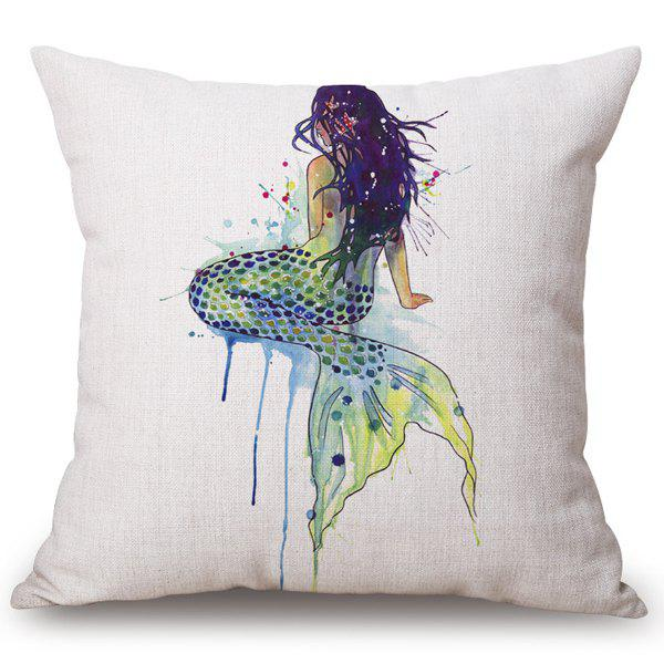 Chic Mermaid Watercolor Pattern Square Shape Flax Pillowcase (Without Pillow Inner) - COLORMIX
