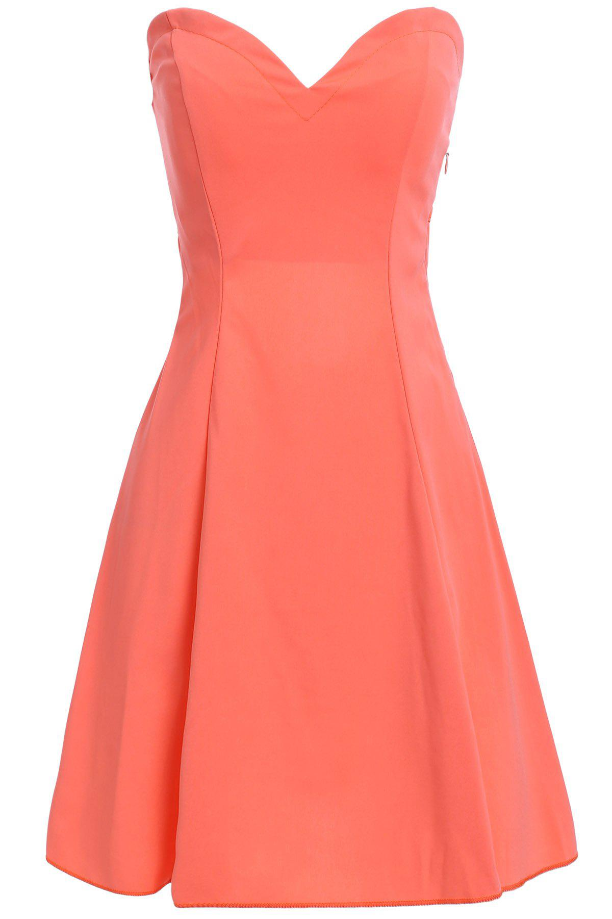 Stylish Women's Strapless Solid Color Hollow Out Club Dress - JACINTH S