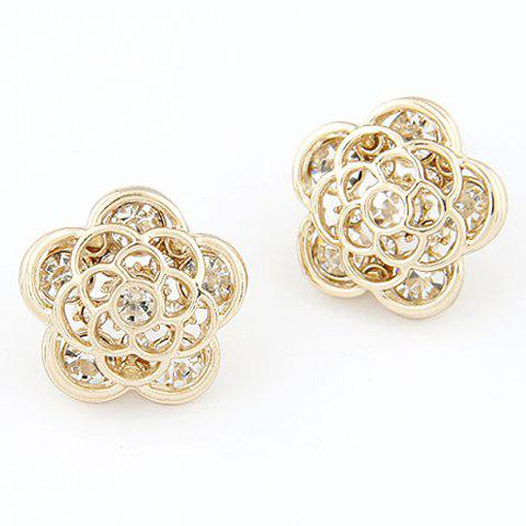 Pair of Alloy Rhinestone Flower Earrings -  GOLDEN