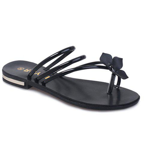 Casual Flower and Solid Color Design Women's Slippers - BLACK 36