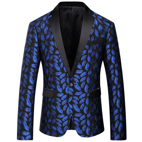 Lips Embroidery Lapel Long Sleeve One Button Men's Blazer