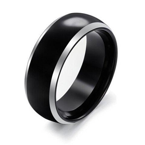 Trendy Silvery Edge Black Tungsten Steel Ring For Men - BLACK ONE-SIZE