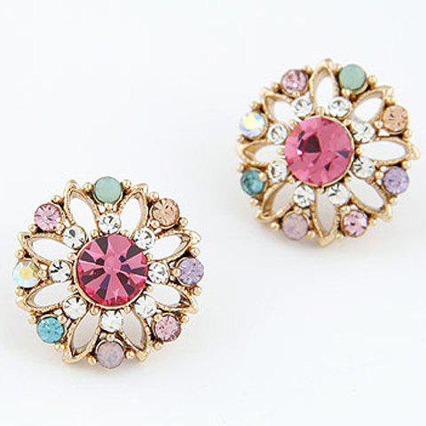 Pair of Chic Style Rhinestone Colored Flower Earrings For Women