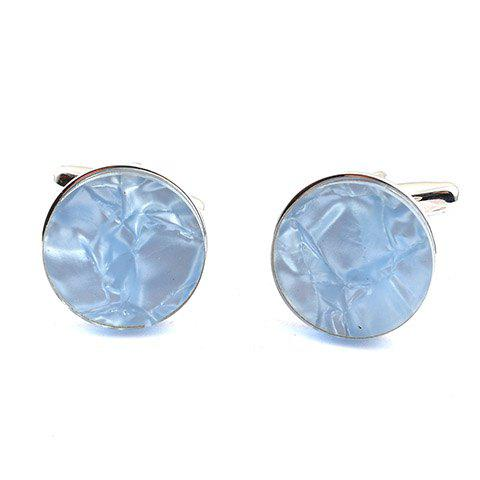 Pair of Stylish Abstract Rectangle Embellished Men's Light Blue Cufflinks