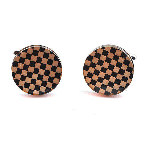 Pair of Stylish Checked Rectangle Embellished Men's Cufflinks - BLACK