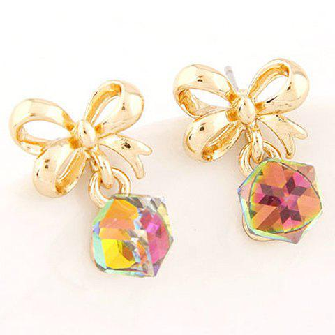 Pair of Bowknot Alloy Geometric Earrings - GOLDEN