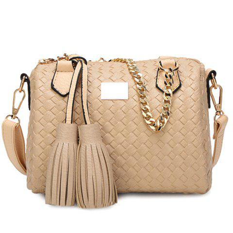 Elegant Weaving and Tassels Design Women's Tote Bag - APRICOT