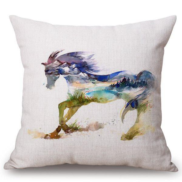 Chic Horse Landscape Watercolor Pattern Square Shape Flax Pillowcase (Without Pillow Inner) - COLORMIX