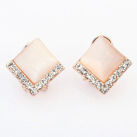 Pair of Chic Rhinestone Alloy Square Earrings For Women