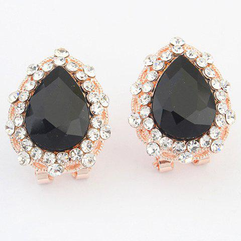 Pair of Water Drop Alloy Earrings - BLACK