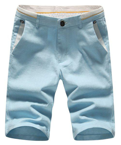Zipper Fly Plus Size Embroidered Selvedge Embellished Straight Leg Men's Shorts - BLUE 34