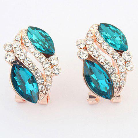 Pair of Rhinestone Alloy Oval Earrings - BLUE