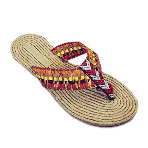 Simple Flat Heel and Multicolor Design Women's Slippers - RED 40