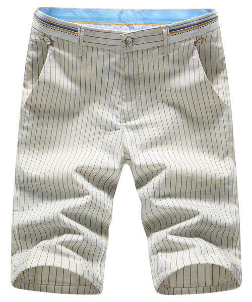 Zipper Fly Plus Size Vertical Stripe Selvedge Embellished Straight Leg Men's Shorts - KHAKI 29