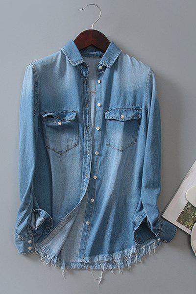 Chic Shirt Collar Long Sleeve Bleach Wash Ripped Front Pockets Design Women's Denim Shirt - DENIM BLUE S