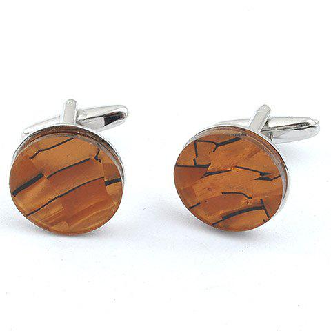 Pair of Stylish Cracked Striped Rectangle Embellished Men's Cufflinks - LIGHT BROWN