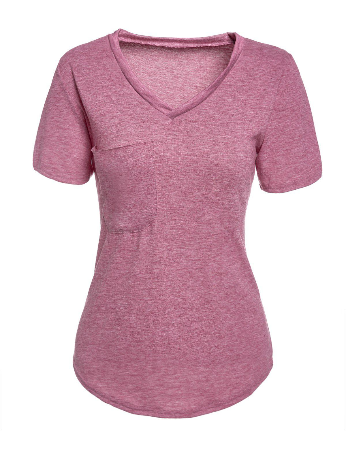 Trendy V Neck Candy Color Short Sleeve T-Shirt For Women - PURPLE S