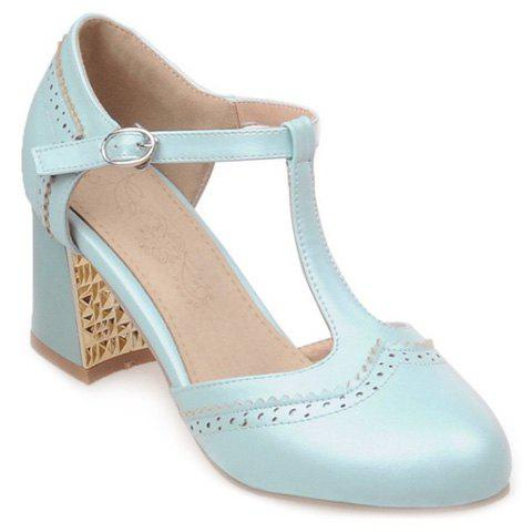 Sweet T-Strap and Engraving Design Women's Pumps - LIGHT BLUE 35