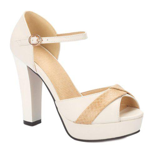 Elegant Peep Toe and Color Block Design Women's Sandals - WHITE 39