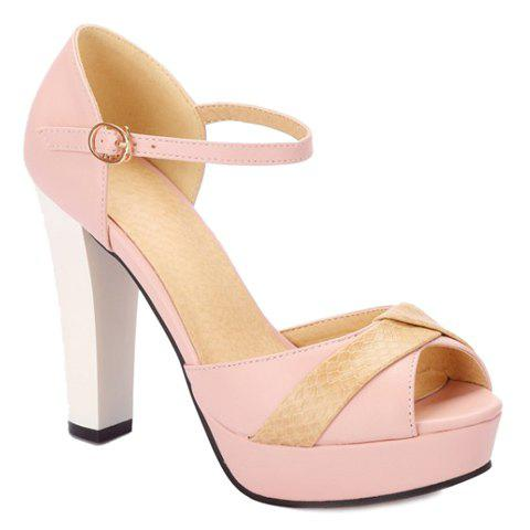 Elegant Peep Toe and Color Block Design Women's Sandals - PINK 34