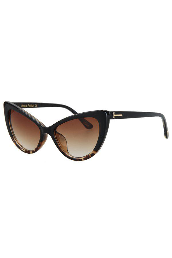 Chic Letter T Shape Inlay Flecky Sunglasses For Women - BLACK
